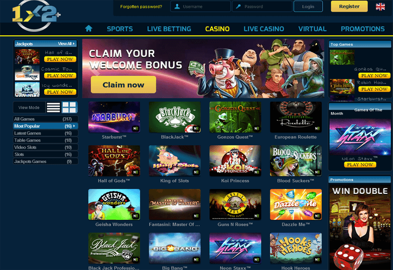 1x2 Plus Casino Home Page