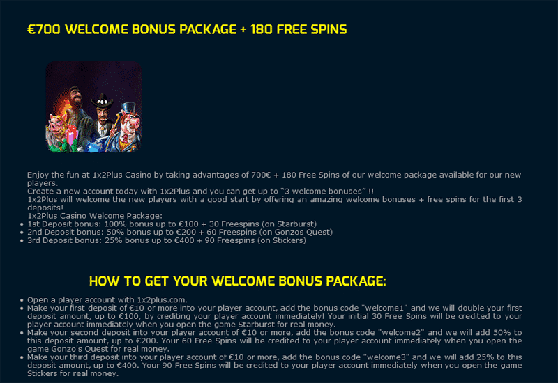 1x2 Plus Casino Promotions