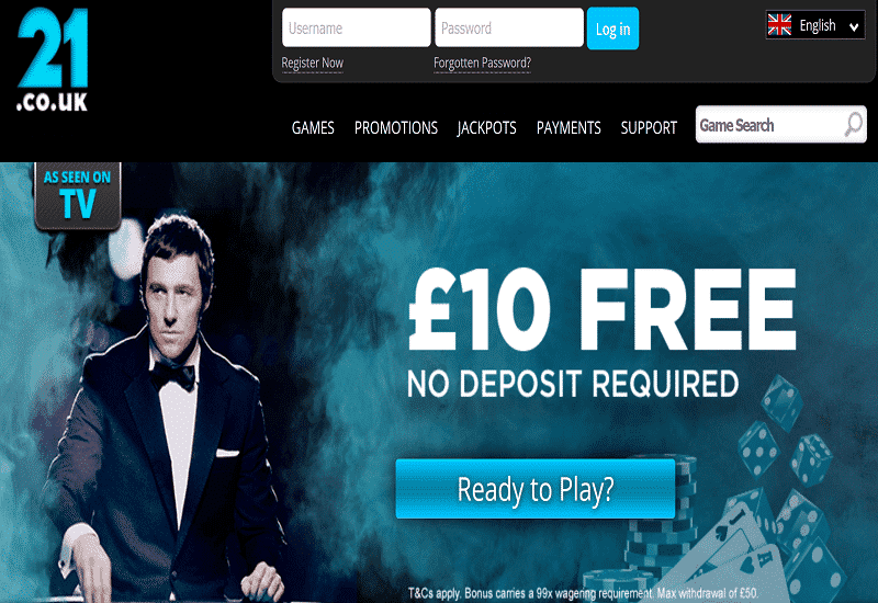 21.co.uk Casino Home Page