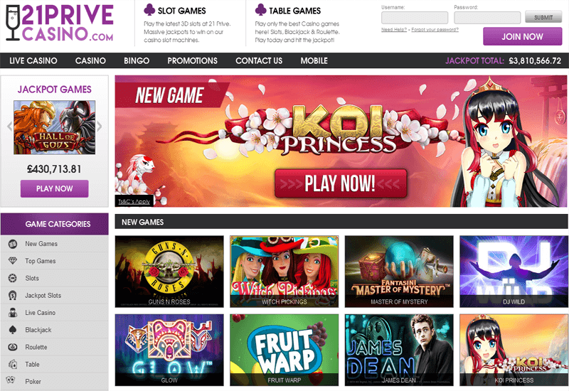 21 Prive Casino Home Page