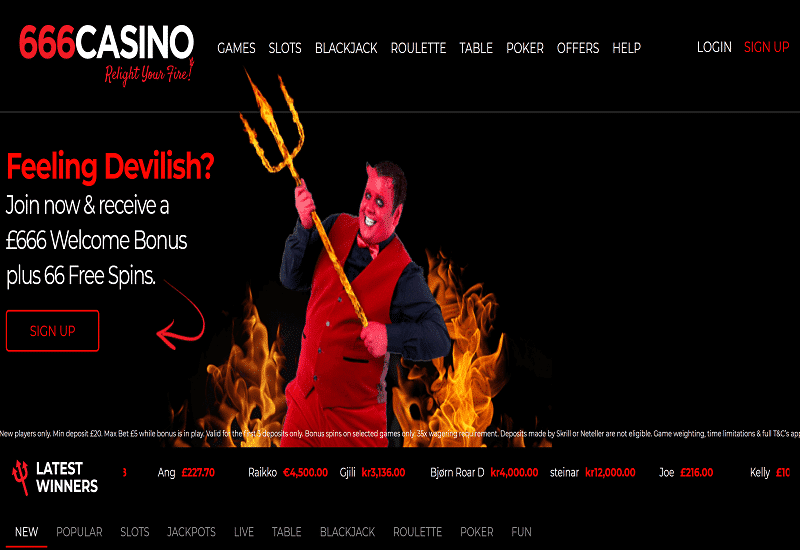 666Casino Home Page