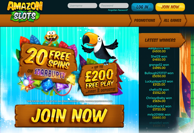 Amazon Slots Casino Home Page