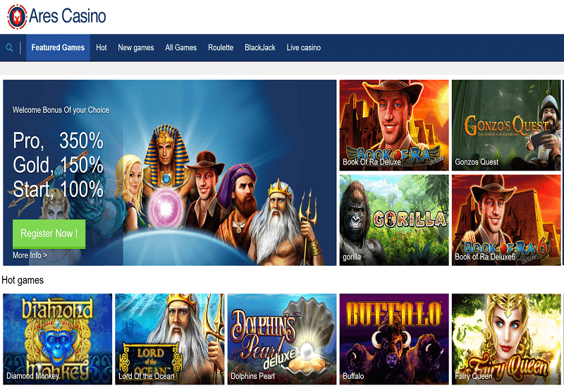 Ares Casino Home Page