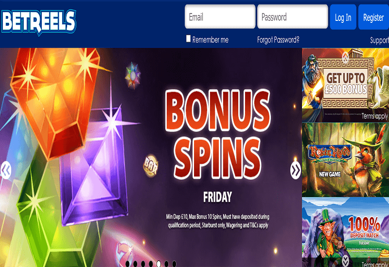 BetReels Casino Home Page