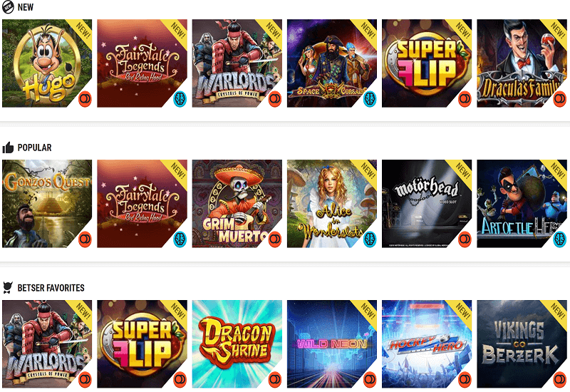 Betser Casino Video Slots