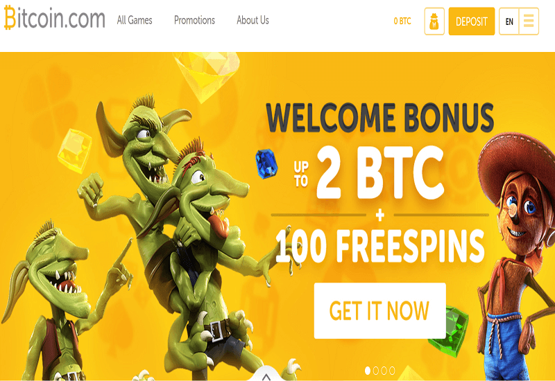 Bitcoin.com Casino Home Page