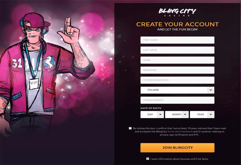 Bling City Casino Registration
