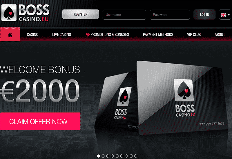 Boss Casino Home Page