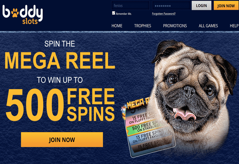 Buddy Slots Casino Home Page