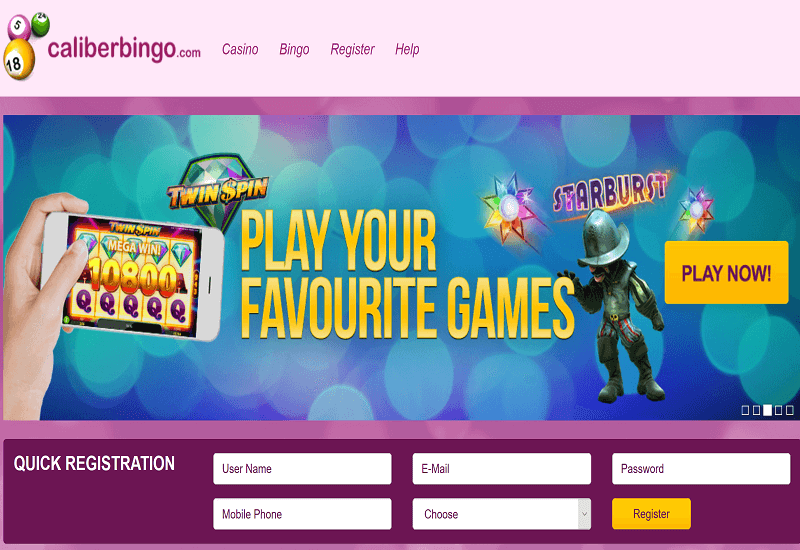Caliber Bingo Casino Home Page