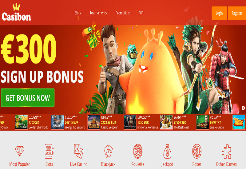 Casibon Casino Home Page