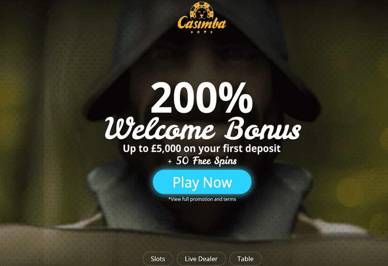 Casimba Casino Home Page