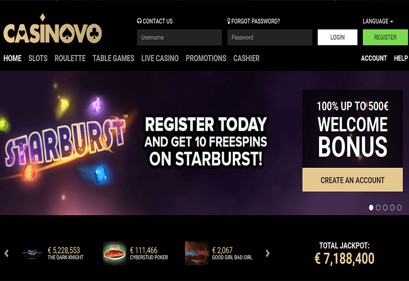 Casinovo Casino Home Page