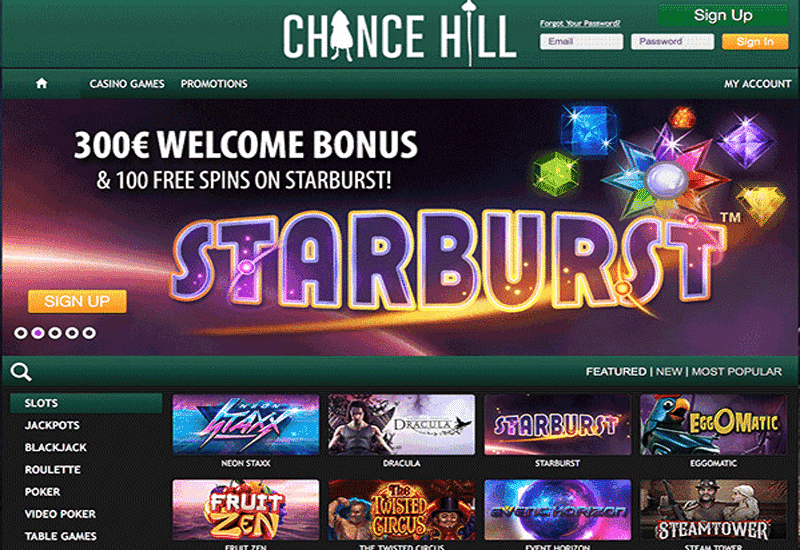 Chance Hill Casino Home Page