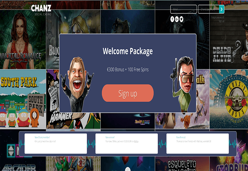 Chanz Casino Home Page