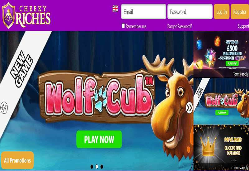 Cheek Riches Casino Home Page