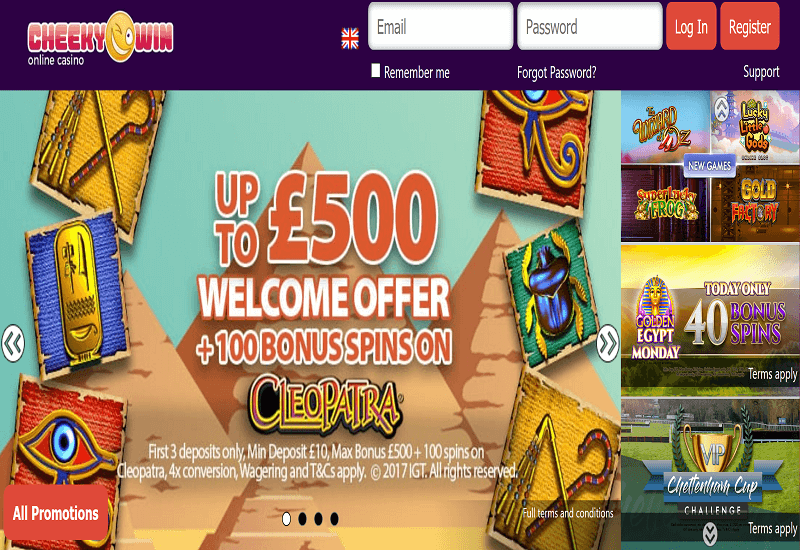 Cheeky Win Casino Home Page
