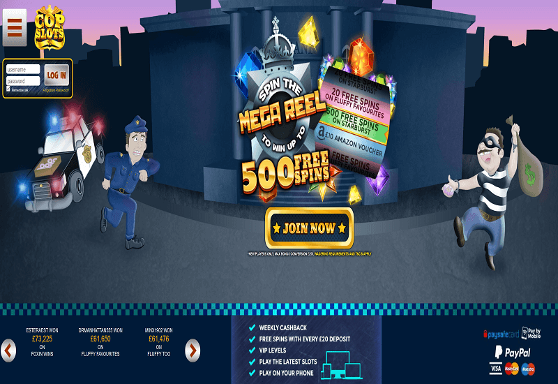 CopSlots Casino Home Page