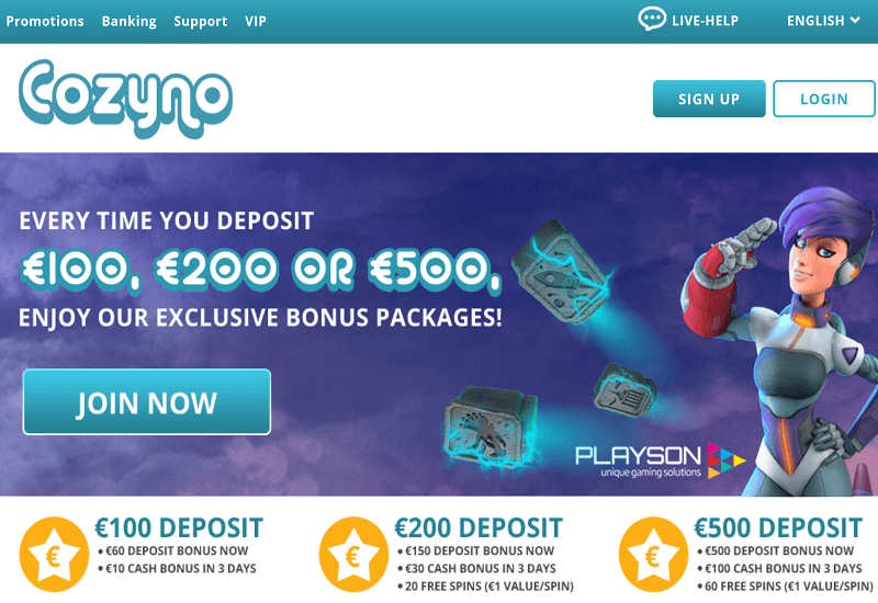 Cozyno Casino Home Page