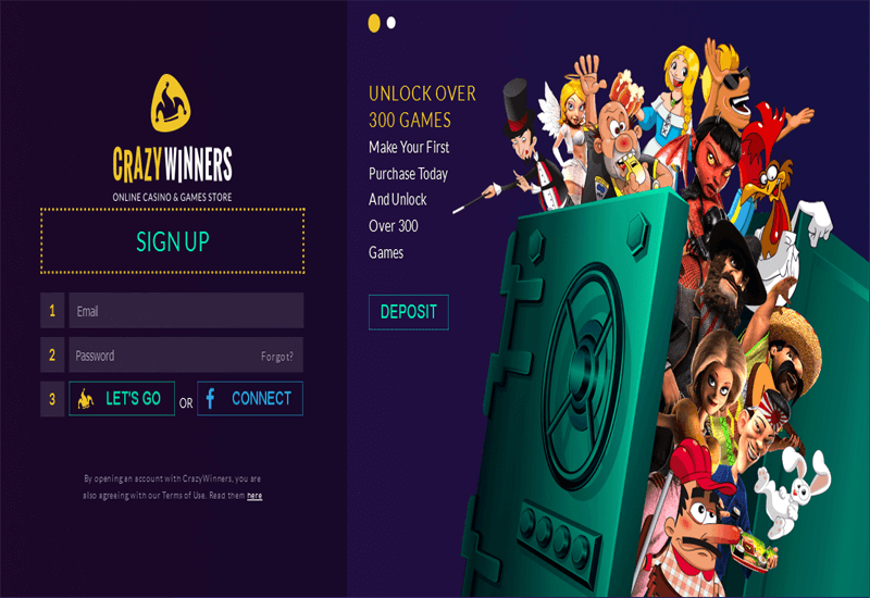 Crazy Winners Casino Home Page