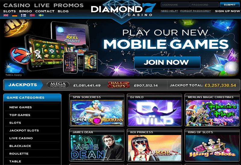 Diamond7 Casino Home Page