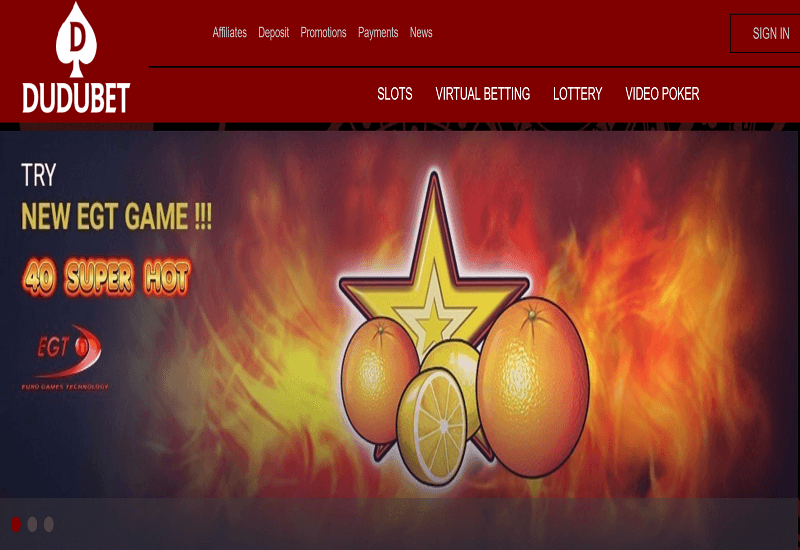 DuduBet Casino Home Page