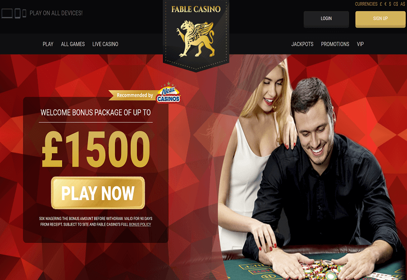 Fable Casino Home Page