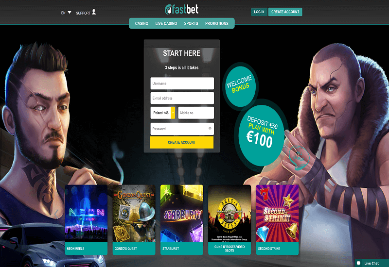 FastBet Casino Home Page