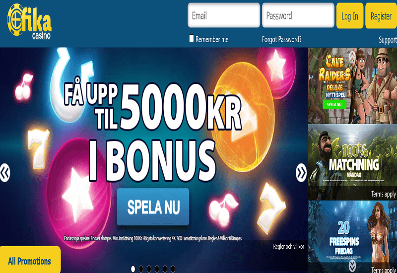 Fika Casino Home Page