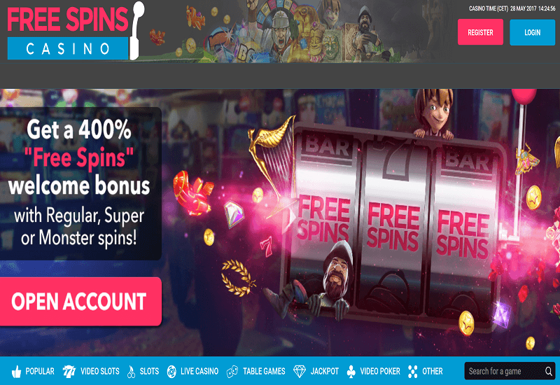 Free Spins Casino Home Page