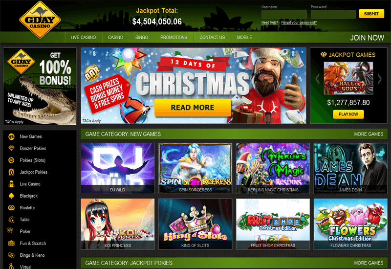 Gday Casino Home Page
