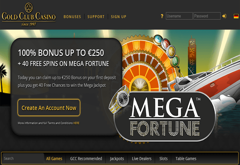Gold Club Casino Home Page
