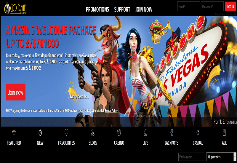 Goldman Casino Home Page