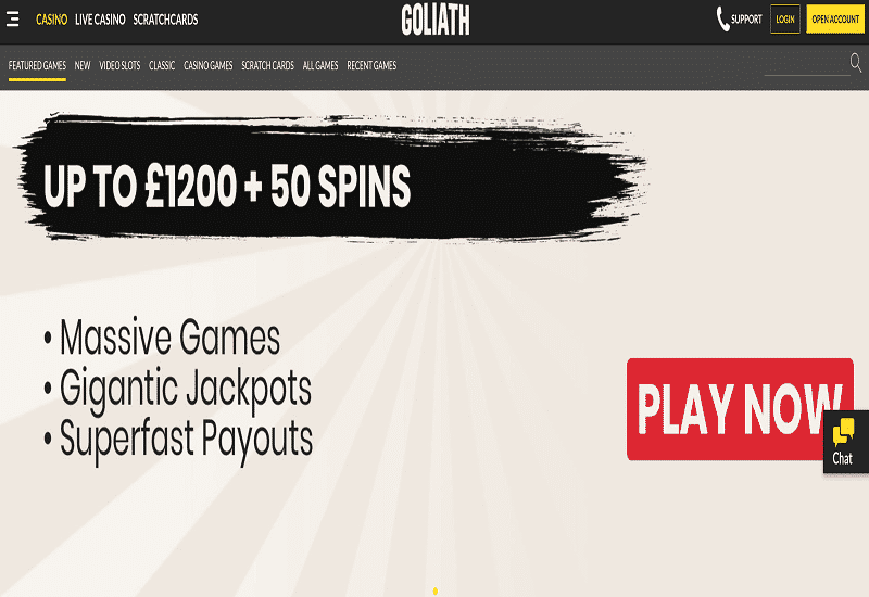 Goliath Casino Home Page