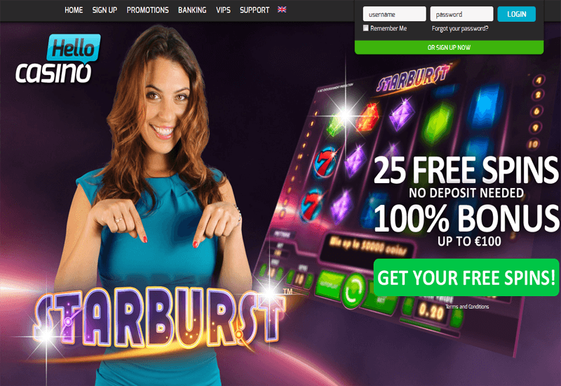Hello Casino Promotion Page