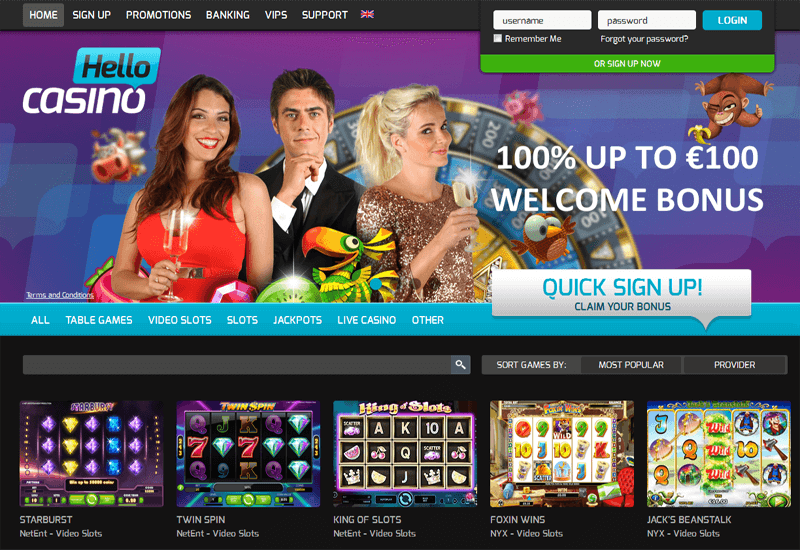 Hello Casino Home Page