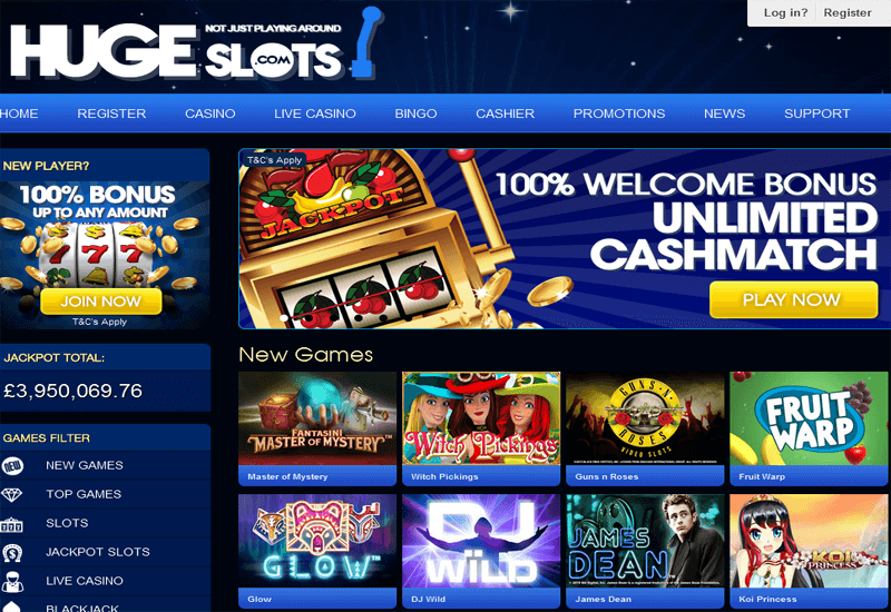 Huge Slots Casino Home Page