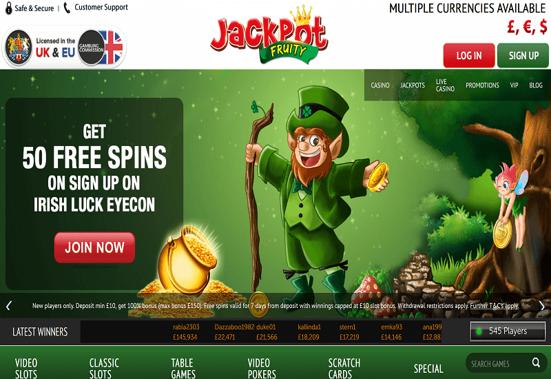 Jackpot Fruity Casino Home Page