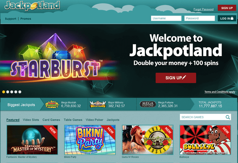 Jackpot Land Casino Home Page