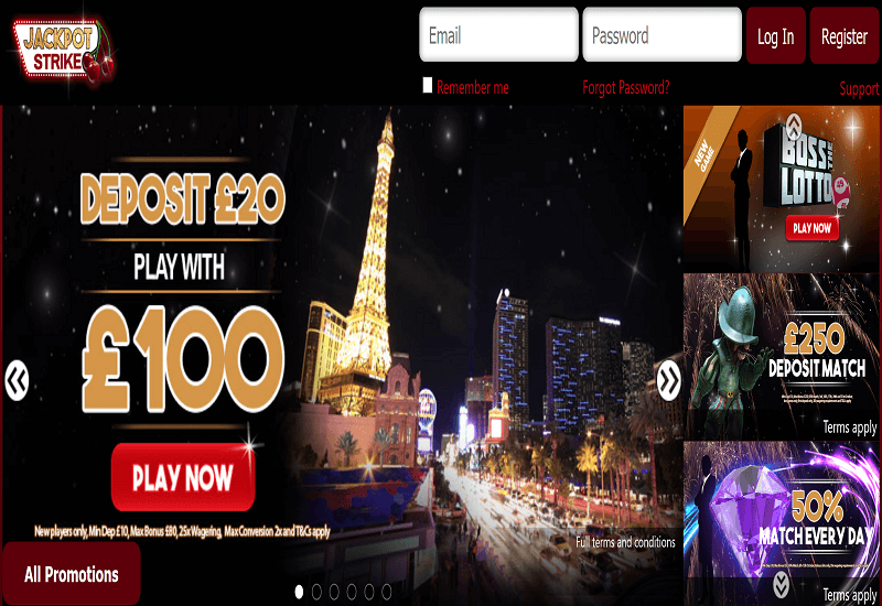 Jackpot Strike Casino Home Page