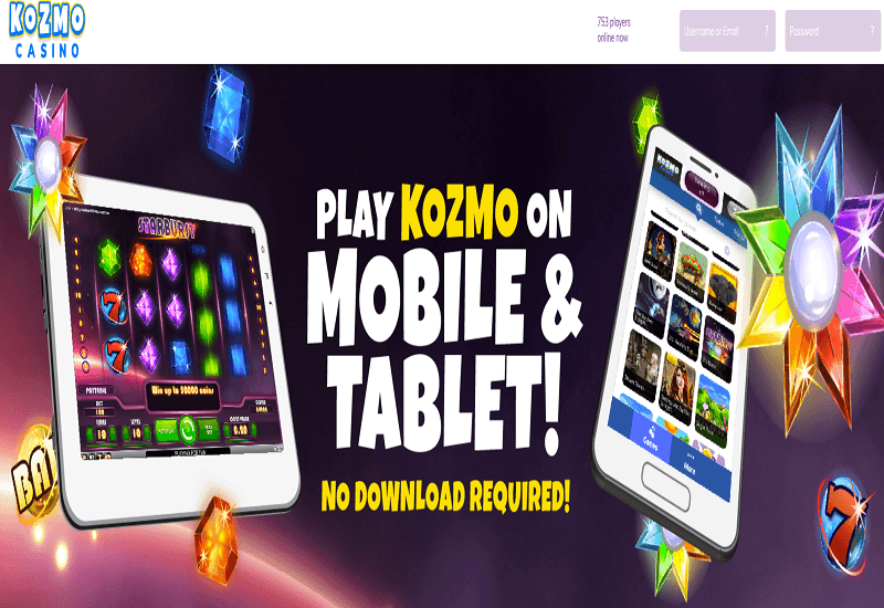 Kozmo Casino Home Page