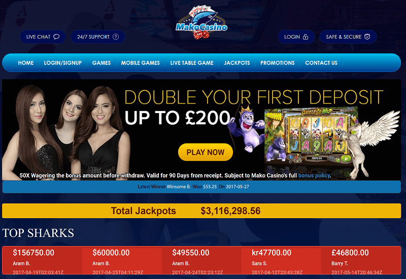 Mako Casino Home Page