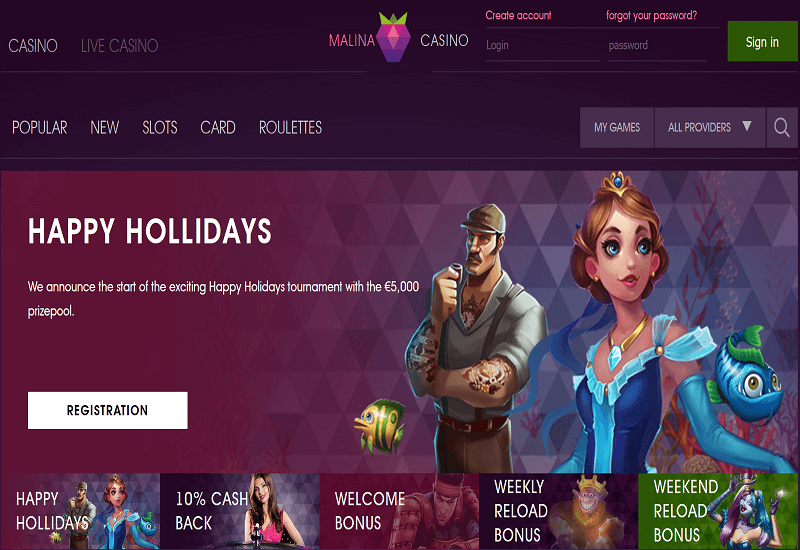 Malina Casino Home Page