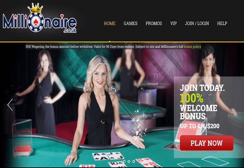 Millionaire Casino Home Page
