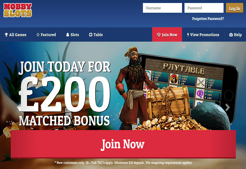 Mobby Slots Casino Home Page