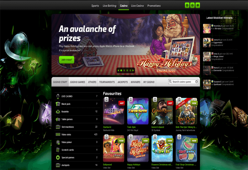 Mobilbet Casino Home Page