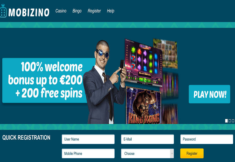 Mobizino Casino Home Page