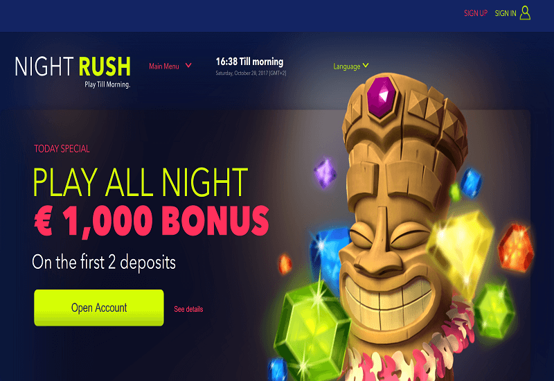 Night Rush Casino Home Page