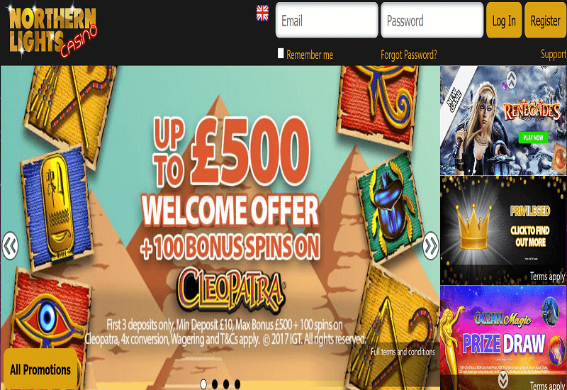 Northern Lights Casino Home Page
