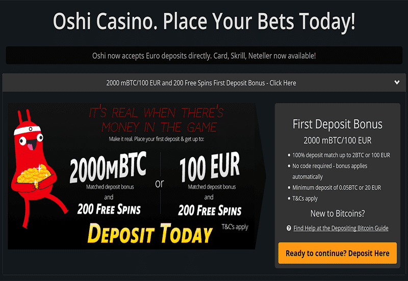 Oshi Casino Home Page